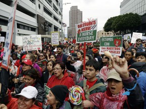 Demonstrators gather during a teachers rally Tuesday, Jan. 15, 2019, in Los Angeles. Teachers in the huge Los Angeles Unified School District walked picket lines again Tuesday as administrators urged them to return to classrooms and for their union to return to the bargaining table.