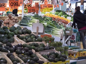 Various vegetables are on display for sale at the Jean Talon Market in Montreal on January 11, 2016. More than half the food produced in Canada is wasted and the average kitchen tosses out hundreds of dollars worth of edibles every year, says a study researchers are calling the first of its kind.
