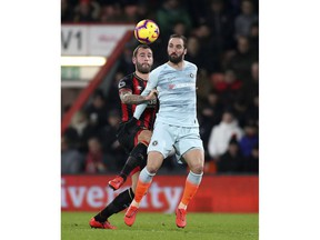Bournemouth's Steve Cook, left, and Chelsea's Gonzalo Higuain during their English Premier League soccer match at the Vitality Stadium in Bournemouth, Wednesday Jan. 30, 2019.