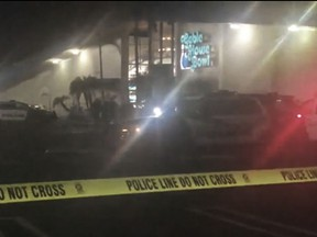 Multiple victims were found with gunshot wounds inside the bowling ally, which is described on its website as a gaming venue that offers bowling, laser tag and a full arcade.  (AP Photo/APTN)