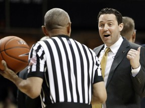 Vanderbilt coach Bryce Drew argues a call during the first half of the team's NCAA college basketball game against South Carolina on Wednesday, Jan. 16, 2019, in Nashville, Tenn.