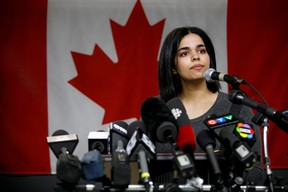 Rahaf Mohammed, 18, addresses the media during a press conference in Toronto at the offices of COSTI, a refugee resettling agency, on Jan. 15, 2019.