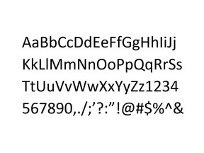 Sample of Calibri, the typeface that revealed a forged Ontario trust document to be fraudulent.