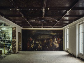 The 17th-century oil painting discovered behind a wall during construction of the Oscar de la Renta boutique in Paris is pictured on Jan. 14, 2019. A restoration is expected to be done by May.
