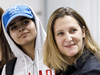 Saudi teenager Rahaf Mohammed Alqunun with Canadian Minister of Foreign Affairs Chrystia Freeland as she arrives at Toronto Pearson International Airport, on Jan. 12, 2019.