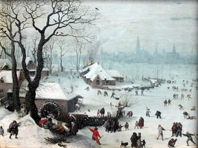 1575 Winter Landscape with Snowfall near Antwerp by Lucas van Valckenborch.