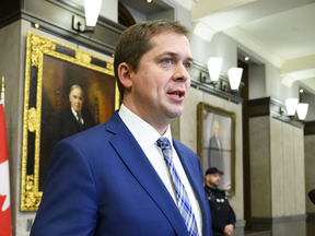 Conservative Leader Andrew Scheer holds a press conference on Parliament Hill on Feb. 8, 2019. Scheer called for committee hearings into allegations of political influence into SNC-Lavalin's criminal case.