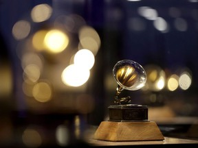 A Grammy award is displayed at the Grammy Museum Experience at Prudential Center, in Newark, N.J., Oct. 10, 2017.