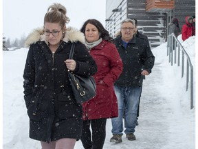 Christina Haugan, left, wife of coach Darcy Haugan who died in the 2018 Humboldt hockey team bus crash, and other family and friends of victims leave after the final arguments in the sentencing hearings for Jaskirat Singh Sidhu, the driver of the truck that collided with the bus carrying the Humboldt Broncos hockey team, at the courthouse in Melfort, Sask., on January 31, 2019. An emotional sentencing hearing for the truck driver who caused the deadly Humboldt Broncos bus crash laid bare the unrelenting pain of family members who lost loved ones in the sudden tragedy. There were heartbreaking accounts of grief and anger, and calls for the maximum prison time possible. But there were also glimmers of compassion, as some including widow Christina Haugan pledged forgiveness and peace.