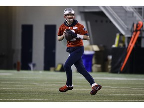 New England Patriots quarterback Tom Brady looks to pass during NFL football practice, Friday, Feb. 1, 2019, in Atlanta, as the team prepares for Super Bowl 53 against the Los Angeles Rams.