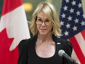 n this Oct. 23, 2017, file photo, United States Ambassador to Canada Kelly Knight Craft speaks after presenting her credentials during a ceremony at Rideau Hall in Ottawa.