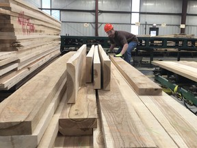 In this Feb. 7, 2019 photo, a worker stacks ash boards at The Wagner Companies' mill in Owego, N.Y. The emerald ash borer is decimating ash trees in dozens of states and loggers are harvesting the popular wood while it's still available.