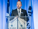 SNC-Lavalin President and CEO Neil Bruce speaks at the company's annual general meeting in Montreal, May 3, 2018.