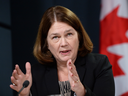 Jane Philpott, then federal health minister, talks about Canada's plan to resettle 25,000 Syrian refugees, in November 2015.