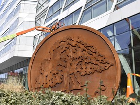 Swedbank's headquarters in Sundbyberg, Stockholm, Wednesday March 27, 2019. The headquarters of one of Sweden's largest banks are being raided by authorities as part of an investigation into whether Swedbank was connected to a massive money laundering scandal in the Baltic countries.