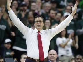 Nebraska head coach Tim Miles on the sidelines during the first half of an NCAA college basketball game against Michigan State, Tuesday, March 5, 2019, in East Lansing, Mich.