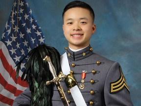 This undated photo provided by the U.S. Military Academy at West Point shows West Point Cadet Peter Zhu who died on Feb. 28, 2019 of injuries he sustained while skiing on Feb. 23 at Victor Constant Ski Area on the academy grounds. The parents of Peter Zhu have received a judge's permission to retrieve his sperm for possible artificial insemination.