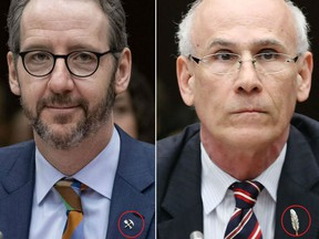Butts and Wernick both wore distinguishable lapel pins to their respective hearings today. Butts chose a miner's pick and shovel pin, while Wernick chose an eagle feather.