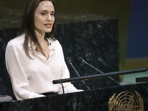 Angelina Jolie, United Nations High Commissioner for Refugees specialenvoy, address a meeting on U.N. peacekeeping.
