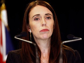 FILE - In this March 25, 2019, file photo, New Zealand Prime Minister Jacinda Ardern addresses a press conference in Wellington, New Zealand. Ardern has named a Supreme Court justice to head New Zealand's top-level investigation into the actions of security agencies and other issues related to the mosque shootings.
