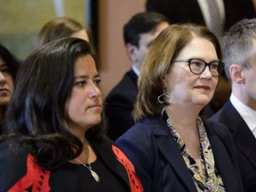 Liberal MPs Jody Wilson-Raybould and Jane Philpott take part in a cabinet shuffle at Rideau Hall in Ottawa on Monday, Jan. 14, 2019.