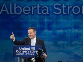 Jason Kenney, leader of the United Conservative Party, gestures to the crowd as he delivers his victory speech at a party event in Calgary, Alberta, Canada, on Tuesday, April 16, 2019. Alberta returned to its conservative roots, electing Kenney after he vowed to fight harder for the Canadian province's beleaguered energy industry.