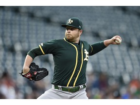 Oakland Athletics pitcher Brett Anderson delivers against the Baltimore Orioles in the first inning of a baseball game, Tuesday, April 9, 2019, in Baltimore.