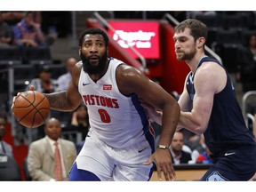 Detroit Pistons center Andre Drummond (0) drives on Memphis Grizzlies center Tyler Zeller (45) in the first half of an NBA basketball game in Detroit, Tuesday, April 9, 2019.