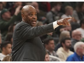 FILE - In this March 24, 2019, file photo, Cleveland Cavaliers head coach Larry Drew reacts during the first half of an NBA basketball game against the Milwaukee Bucks in Milwaukee. Drew said he has not spoken with the club's front office about his future with the team. Drew, who became Cleveland's coach when Tyronn Lue was fired in October after six games, said before a game Sunday, April 7, 2019, against San Antonio, said the sides decided to wait until the season ends before discussing what is next.