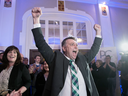 Progressive Conservative leader Dennis King, accompanied by his wife Jana Hemphill, left, arrives to greet supporters after winning the Prince Edward Island provincial election in Charlottetown on April 23, 2019.