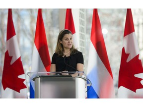 Chrystia Freeland, Minister of Foreign Affairs speaks at a joint media availability at the National Arts Centre in Ottawa on Wednesday, April 3, 2019.