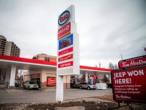 Daily photo of ESSO station at the corner of Baseline Rd and Pinecrest Rd showing the daily flux in prices. Photo taken Sunday April 14, 2019.