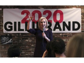In this April 5, 2019, photo, Democratic presidential candidate Sen. Kirsten Gillibrand, D-N.Y., addresses a gathering during a campaign stop at a coffee house in Dover, N.H. Gillibrand has campaigned across eight states, pushed her rivals to release their tax returns and delivered a major speech outside a Trump-branded property in Manhattan in the months since launching her exploratory committee. Yet, she has struggled to break out of the pack of more than a dozen 2020 presidential candidates.