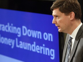 B.C. Attorney General David Eby talks about the details found in a recent report done by an expert panel about billions in money laundering in the province during a press conference at Legislature in Victoria, B.C., on Thursday, May 9, 2019.