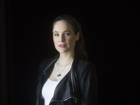 """Caroline Dhavernas poses for a photo in Toronto on Wednesday, May 8, 2019. Caroline Dhavernas didn't think she would cry. The Montreal-based star of the Canadian assisted suicide drama """"Mary Kills People"""" says she knew going into filming for season 3 that it would be the last and figured she would have a handle on her emotions."""