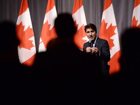 Justin Trudeau, Leader of the Liberal Party of Canada, speaks to supporters during an armchair discussion at an open Liberal fundraising event in Toronto on May 9, 2019.