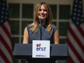 """First lady Melania Trump speaks during a program for her """"Be Best"""" initiative in the Rose Garden of the White House, Tuesday, May 7, 2019, in Washington."""