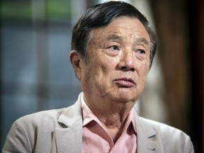 Ren Zhengfei, founder and chief executive of Huawei Technologies Co., speaks during a Bloomberg Television interview at the company's headquarters in Shenzhen, China, on Friday.