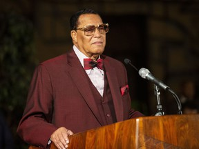 Minister Louis Farrakhan, of the Nation of Islam, pauses as he speaks at Saint Sabina Church in Chicago on Thursday night, May 9, 2019.