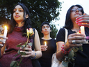 A group of Iranian women at a vigil on July 19, 2003 in Montreal for Quebec-based photojournalist Zahra Kazemi, who beaten to death while in detention in Iran.