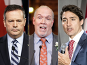 The main players in this drama: Alberta Premier Jason Kenney, B.C. Premier John Horgan. and Prime Minister Justin Trudeau.