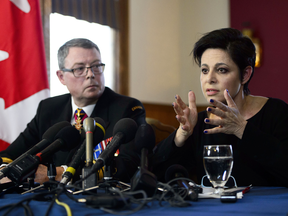 Vice-Admiral Mark Norman and his lawyer Marie Henein attend a press conference in Ottawa on May 8, 2019.