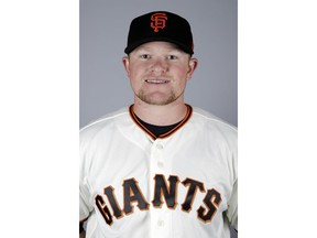 FILE - This is a 2019 file photo showing Logan Webb. San Francisco Giants pitching prospect Logan Webb has been suspended 80 games for testing positive for a performance-enhancing substance. The commissioner's office announced the punishment without pay Wednesday, May 1, 2019, for the Double-A pitcher.