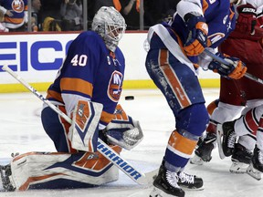 New York Islanders goaltender Robin Lehner (40), of Sweden, is unable to block a goal-scoring shot by Carolina Hurricanes right wing Nino Niederreiter, of Switzerland, during the third period of Game 2 of an NHL hockey second-round playoff series, Sunday, April 28, 2019, in New York.