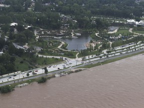 The Gathering Place near the Arkansas river on Wednesday, May 22, 2019. Authorities on Wednesday encouraged people living along the Arkansas River in the Tulsa suburb of Bixby and low-lying areas near creeks both north and south of Okmulgee, about 35 miles (56 kilometers) south of Tulsa. to leave their homes.