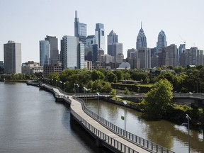 This photo shows the skyline in Philadelphia along the Schuylkill River, Thursday, May 16, 2019. Former Vice President Joe Biden is choosing Philadelphia to base his 2020 presidential campaign, opting for his native Pennsylvania over the state of Delaware that sent him to the Senate for 36 years.