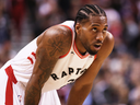 Kawhi Leonard of the Toronto Raptors during Game 1 of the 2019 NBA Finals against the Golden State Warriors, May 30, 2019.