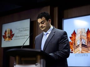 Dean Del Mastro, former Member of Parliament for Peterborough, holds a press conference on Parliament Hill in Ottawa on Thursday, May 9, 2019.