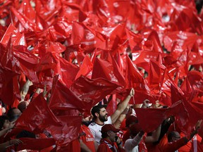 Benfica fans wave flags during a Portuguese league last round soccer match between Benfica and Santa Clara at the Luz stadium in Lisbon, Saturday, May 18, 2019.
