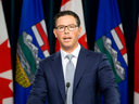Alberta Justice Minister Doug Schweitzer announces the provincial government's legal challenge of the federal carbon tax on June 20, 2019, in Edmonton.